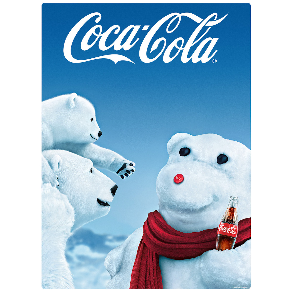 Coca Cola Polar Bears With Snowman Wall Mural Decal At