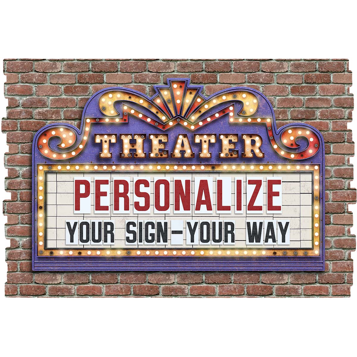 Personalized Home Theater Marquee Faux Brick Decal At Retro Planet