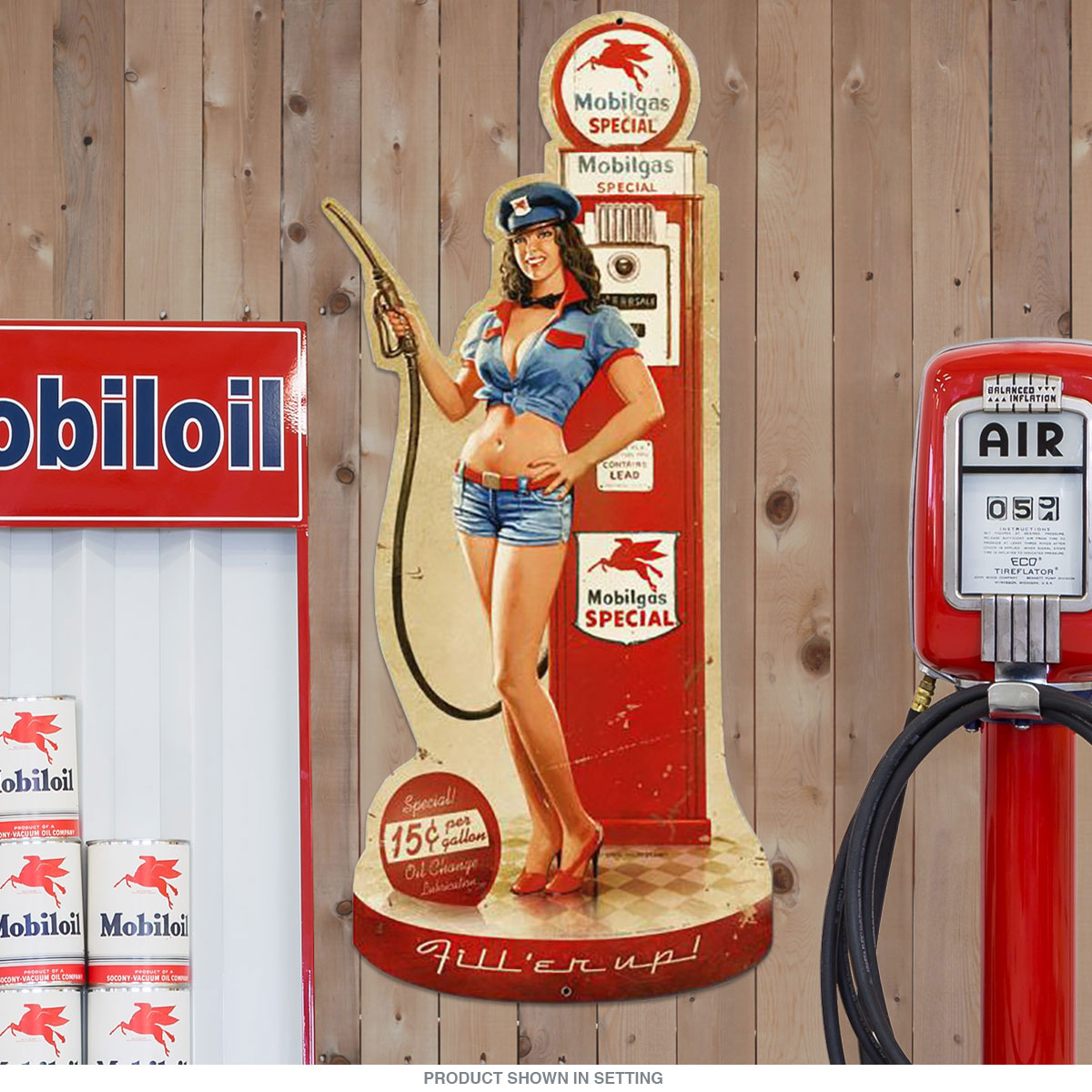 Mobil Gas Pump Girl Pin Up Sign Large Cut Out 17 X 36 At