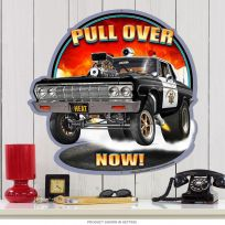 Pull Over Now Police Hot Rod Sign Large Cut Out 28 x 28