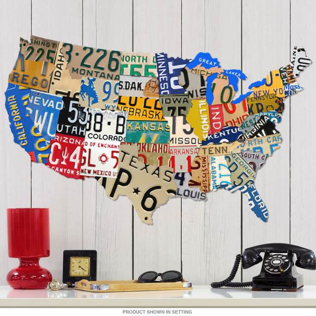 Usa Map License Plate Sign Cut Out 35 X 21 At Retro Planet - Us-map-made-out-of-license-plates