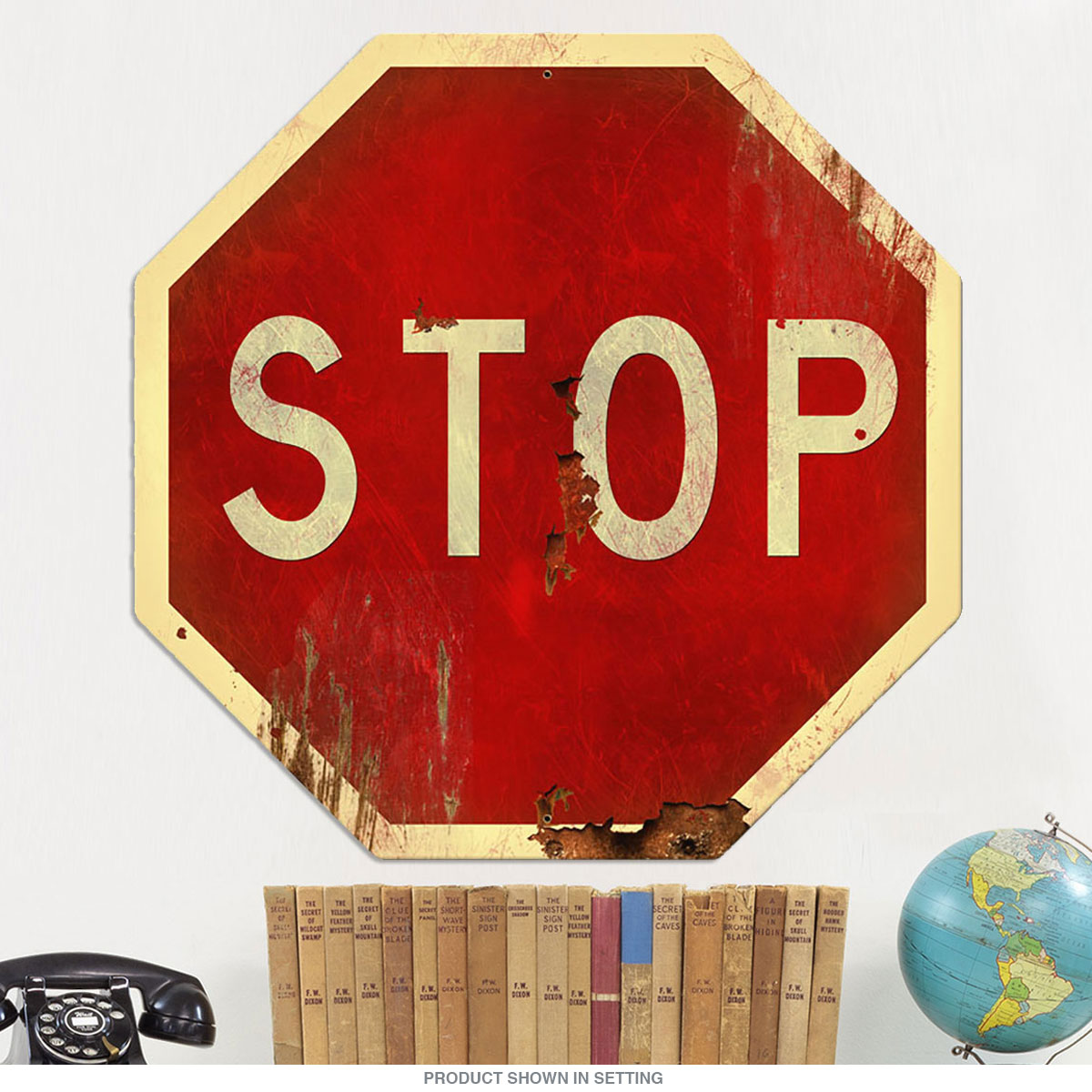Stop Sign Large Cut Out Distressed Metal 28 X 28 At Retro