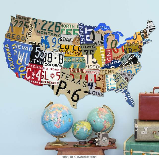 Usa Map License Plate Sign Cut Out 58 X 36 At Retro Planet - Us-map-made-out-of-license-plates