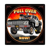 Pull Over Police Hot Rod Sign Large with Border 24 x 24