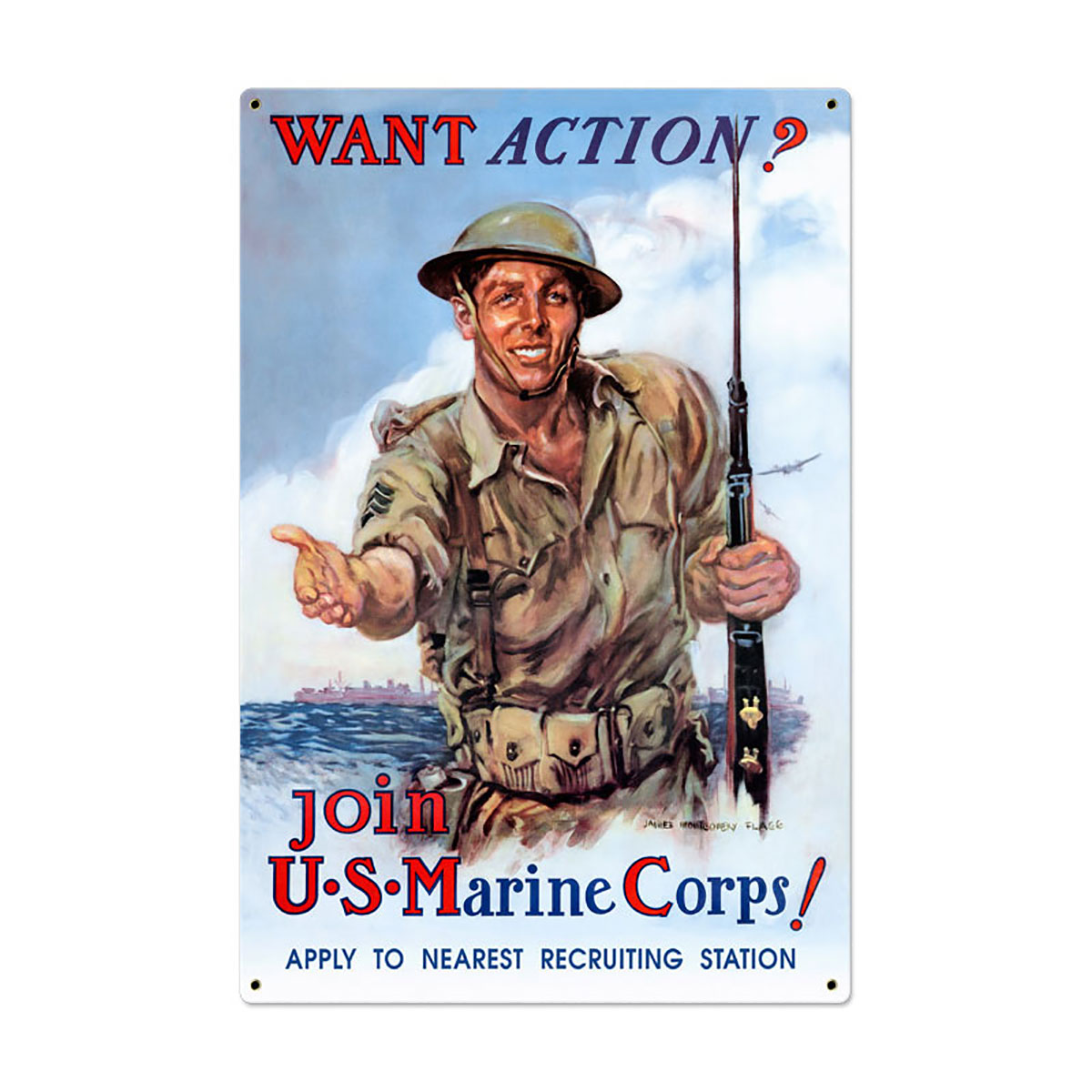 Want Action Join US Marine Corps Sign Large 24 X 36 At