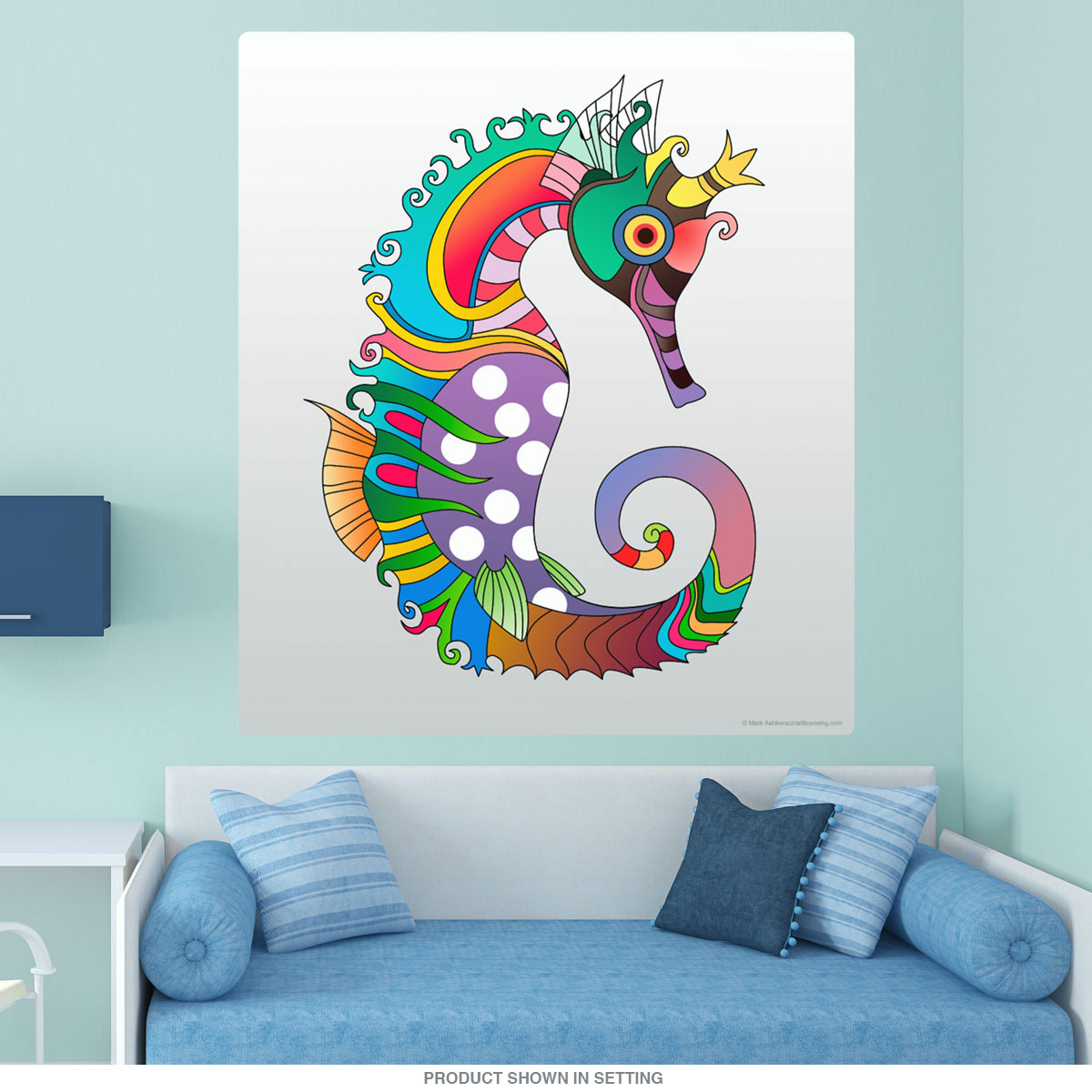 Crowned Seahorse Pop Art Wall Decal At Retro Planet