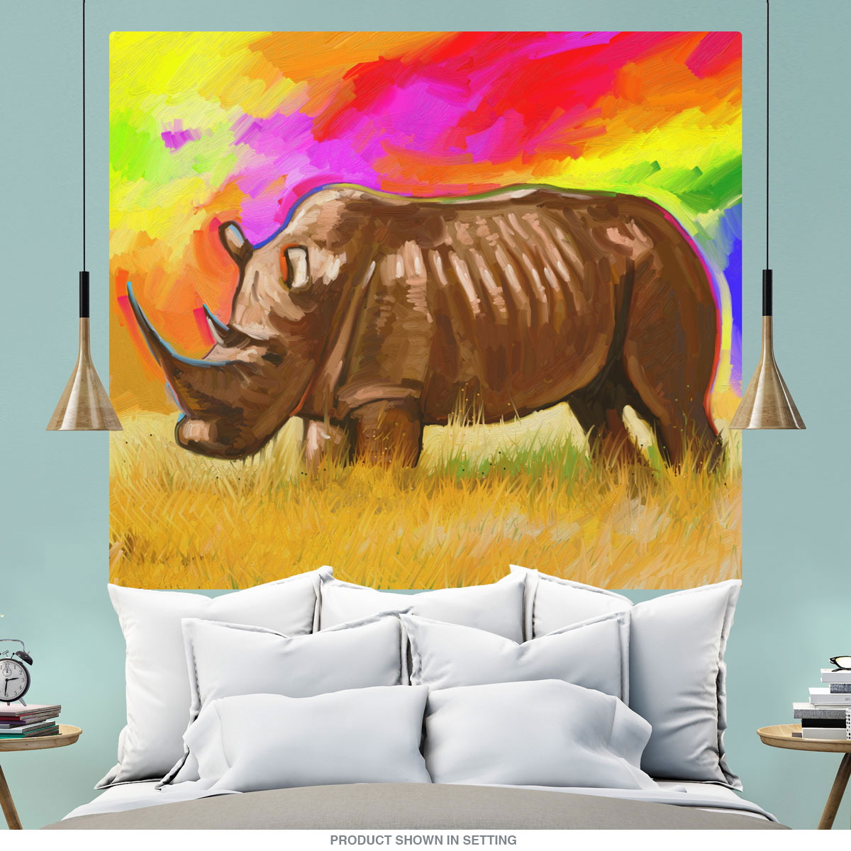 Rhino With Rainbow Sky Wall Mural Decal Pop Art at Retro Planet
