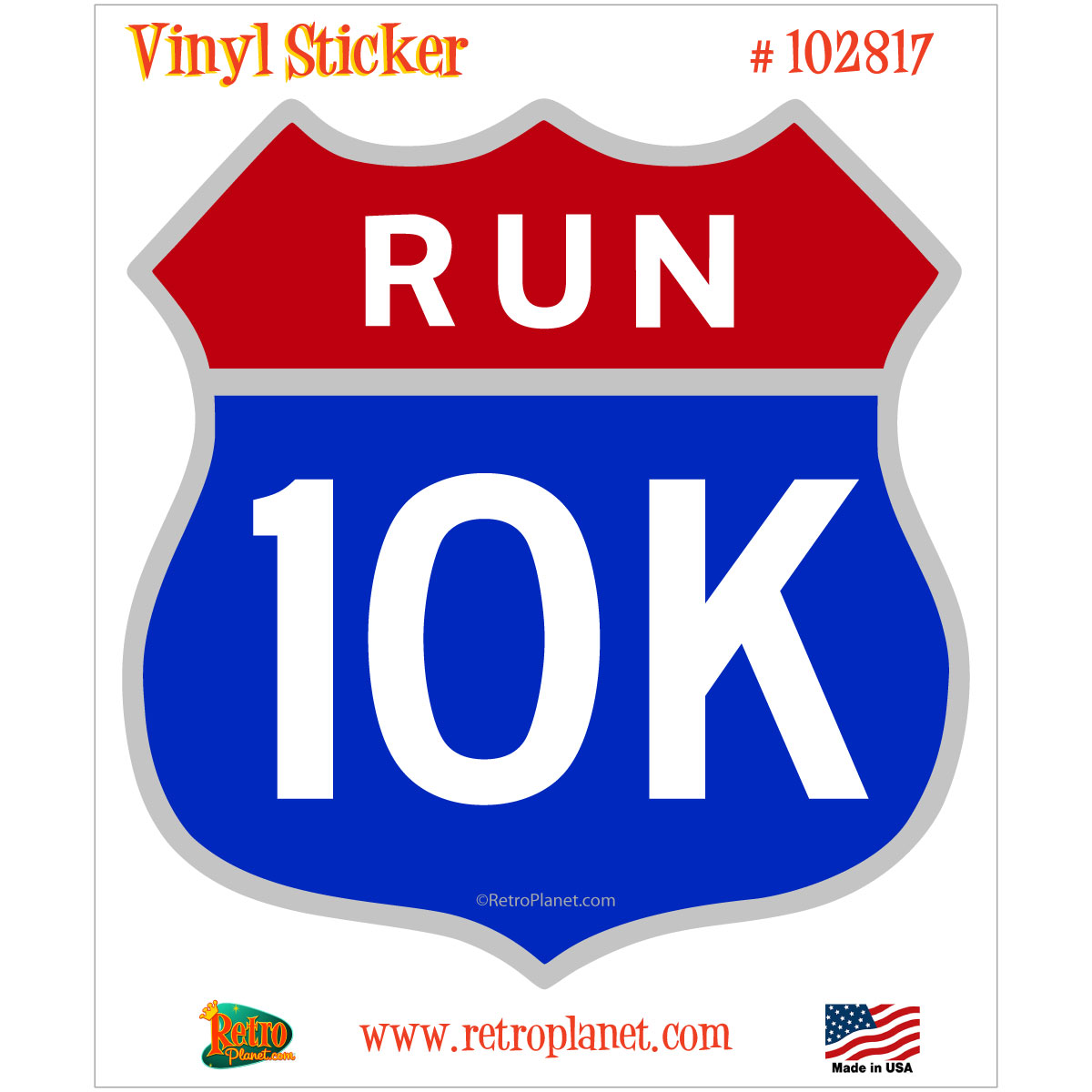 10K Run Road Race Red And Blue Shield Vinyl Sticker