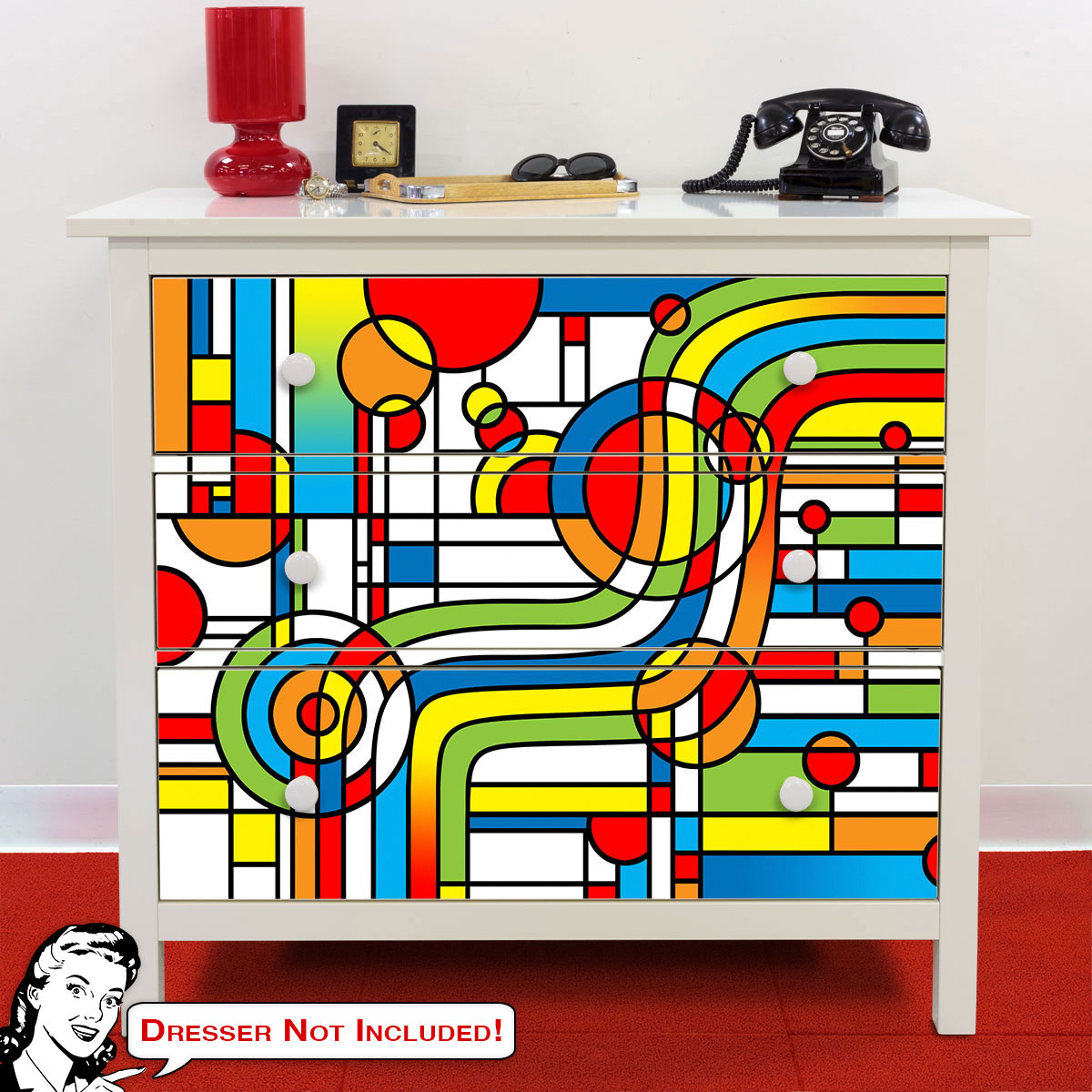 Pop Art Stripes Curve Ikea Hemnes Dresser Graphic