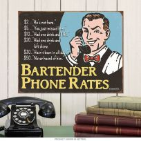 Bartender Phone Rates Funny Tin Sign