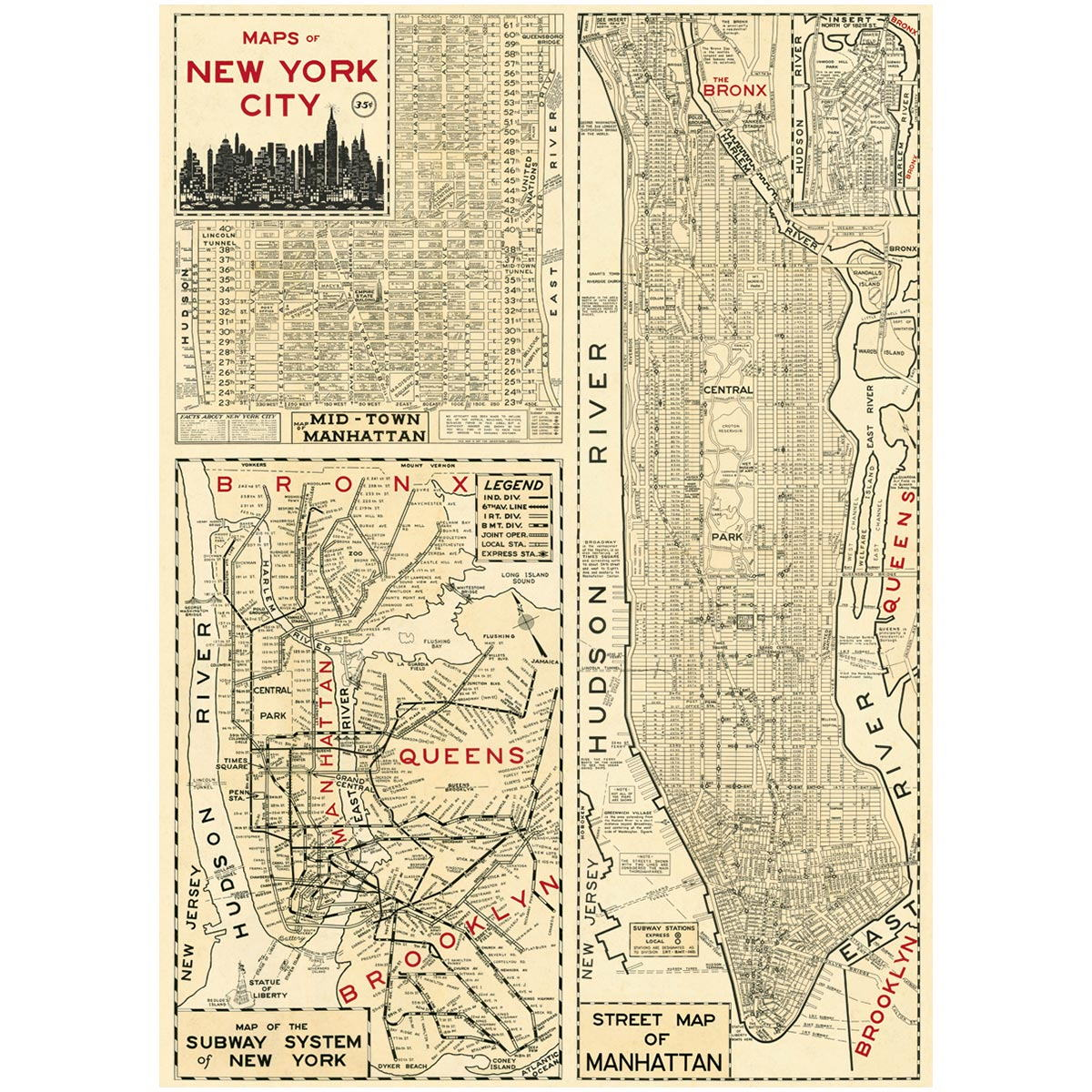 Subway Map Manhattan With Streets.Nyc Manhattan Poster Vintage Style Street Subway Map