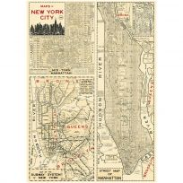 NYC Manhattan Poster Vintage Style Street Subway Map