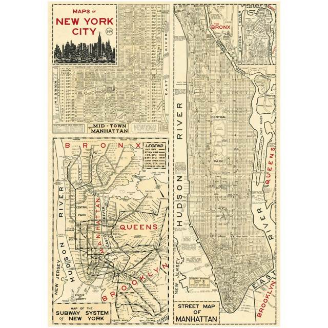 New York City Subway Map Brooklyn.Nyc Manhattan Poster Vintage Style Street Subway Map
