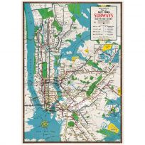 New York City Subway Lines Map Poster Vintage Style