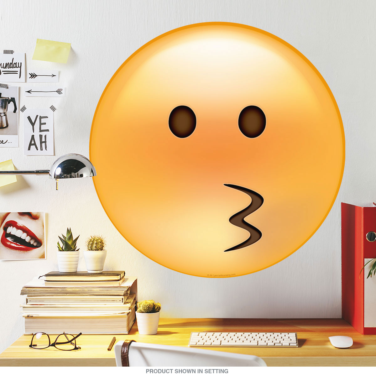 Emoji Kissy Face Puckered Lips Wall Decal | Game Room Decor ...