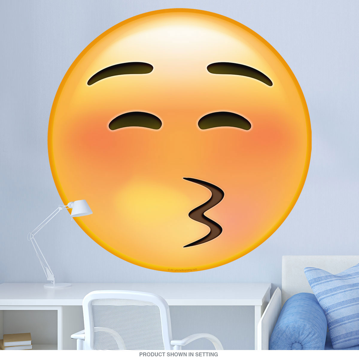Emoji Kissy Face Squinty Eyes Wall Decal | Game Room Decor ...