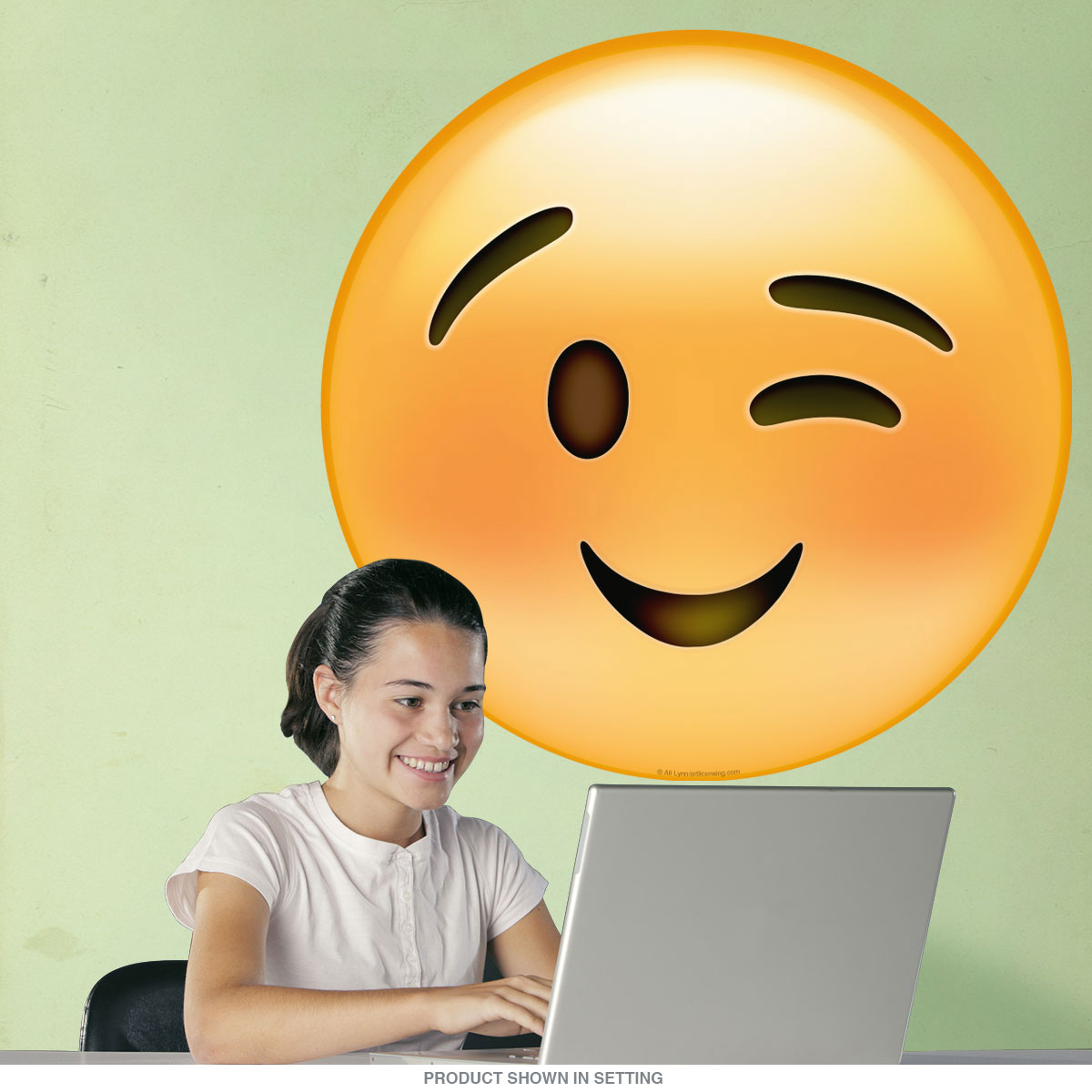 Emoji Smiley Face Winking Eyes Wall Decal | Game Room Decor ...
