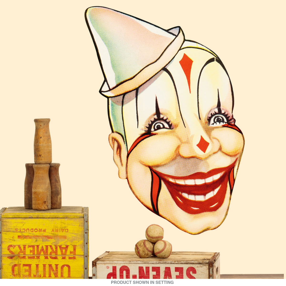 Scary Circus Clown Old Timey Wall Decal at Retro Planet