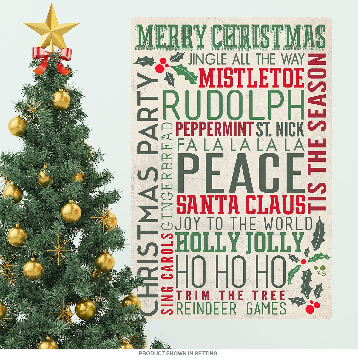 purchase merry christmas words wall decal