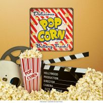 Popcorn Stripes Home Theater Square Sign 12 in