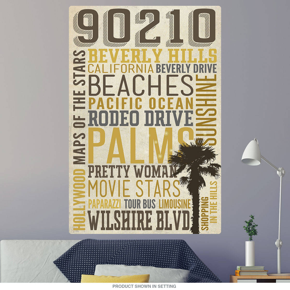 Beverly Hills California 90210 Word Cloud Wall Decal | Game Room ...