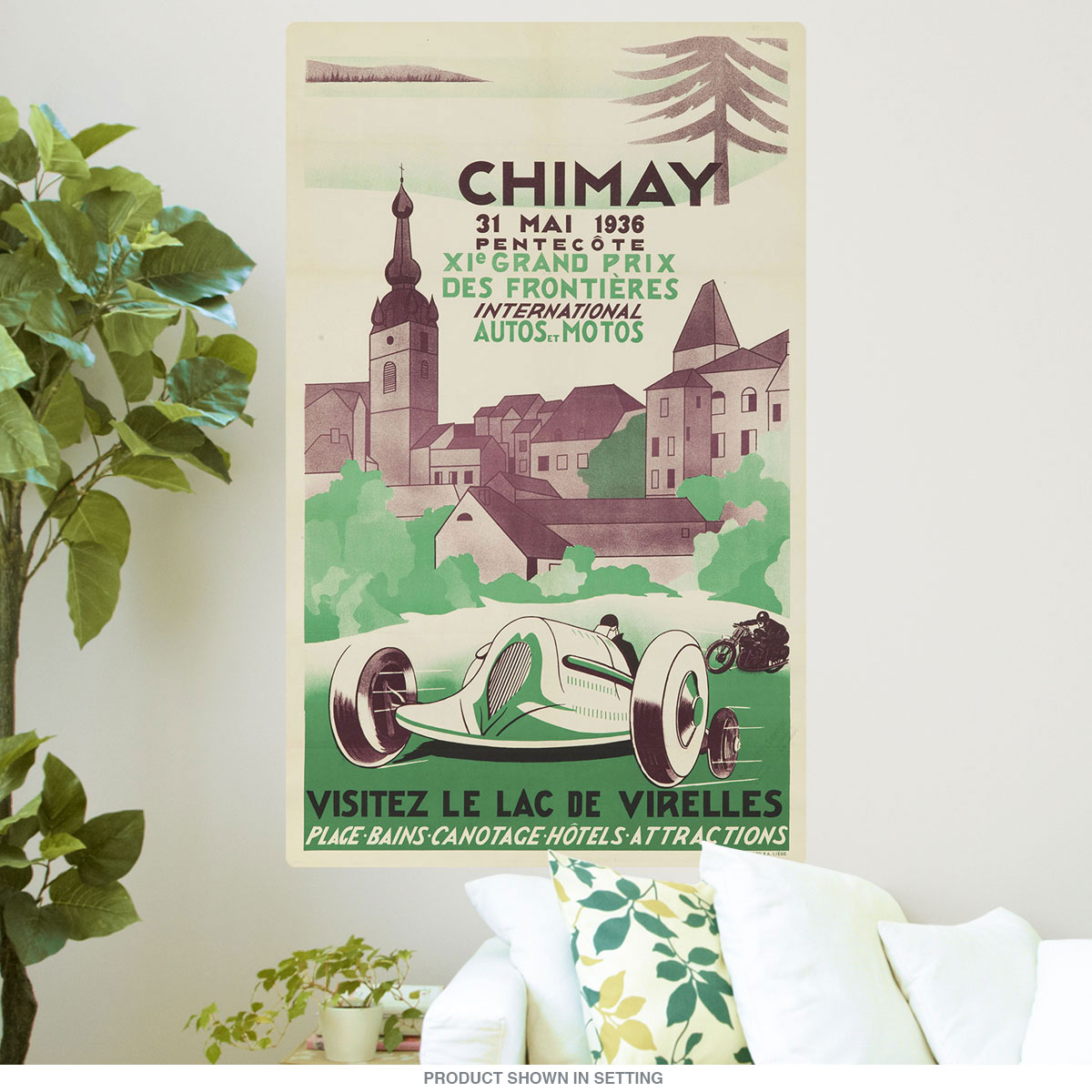 1936 Grand Prix Auto Race Chimay Belgium Wall Decal