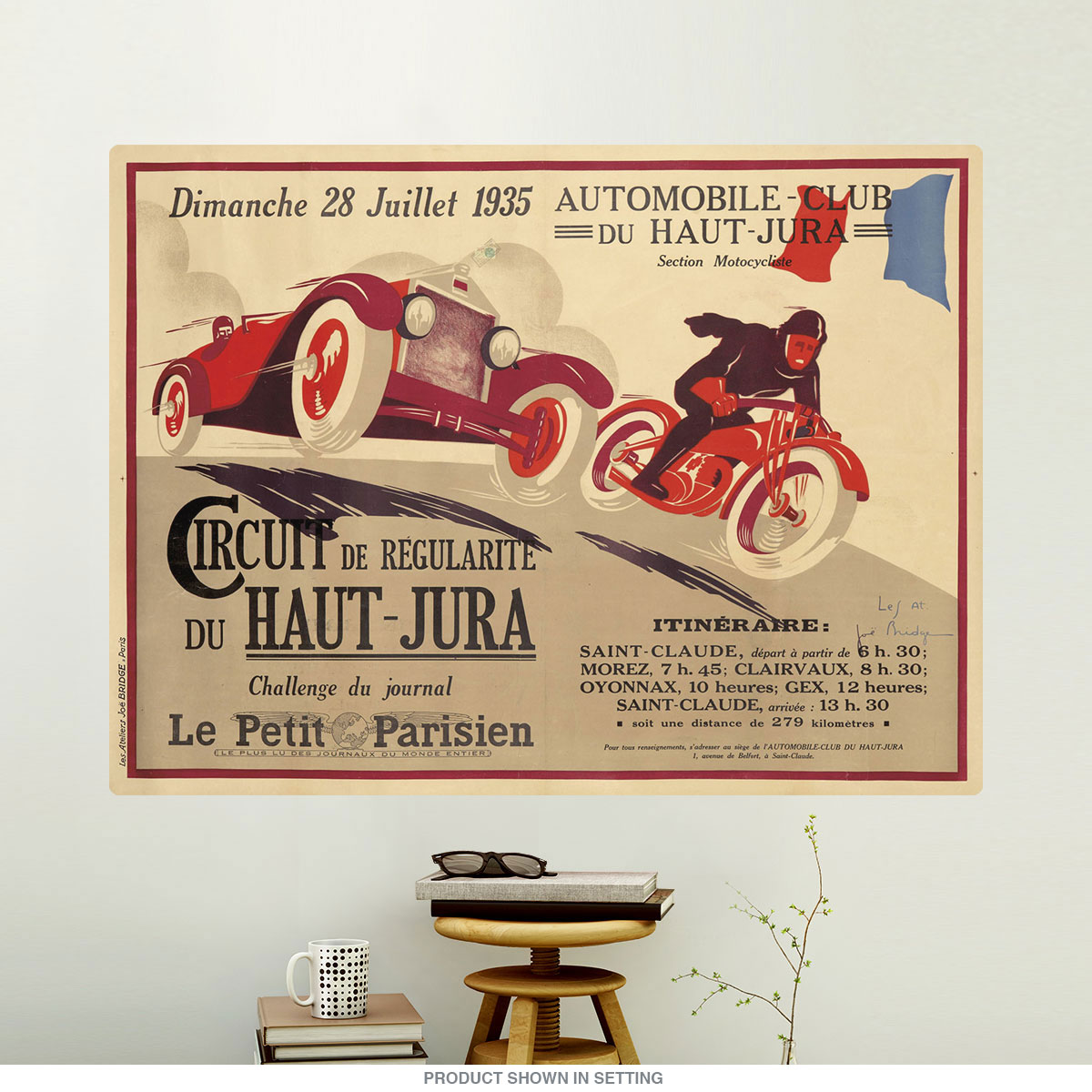 1935 Circuit du Haut-Jura French Auto Race Wall Decal