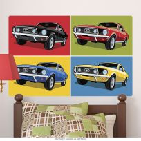 1968 Ford Mustangs Collage Pop Art Wall Decal