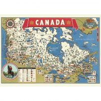 Canada Sightseeing Map Souvenir Vintage Style Poster_D