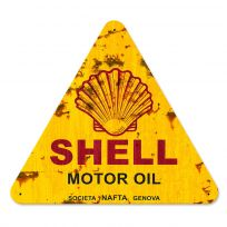 Shell Motor Oil Genova Italy Metal Sign Distressed_D