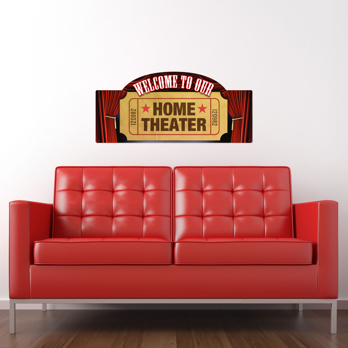 Welcome Home Theater Large Metal Sign Cut Out At Retro Planet