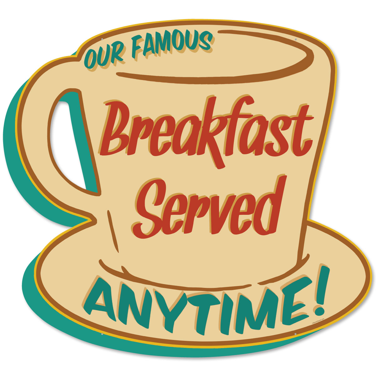 Breakfast Served Coffee Cup Large Metal Sign Cut Out | Diner Decor ...