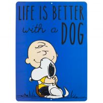 Charlie Brown Life Dog Embossed Metal Sign