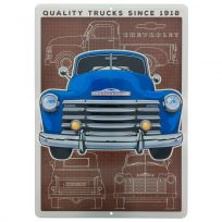 Chevrolet Blue Pickup Truck Embossed Metal Sign