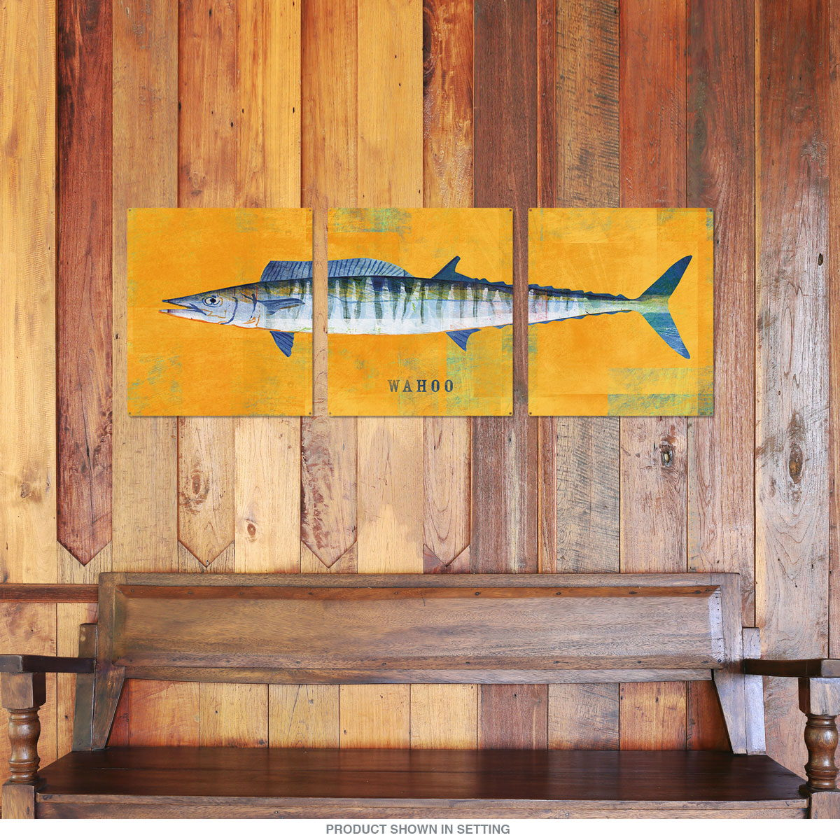 Wahoo Saltwater Fish Triptych Metal Wall Art 48 x 18 | Large Sign ...
