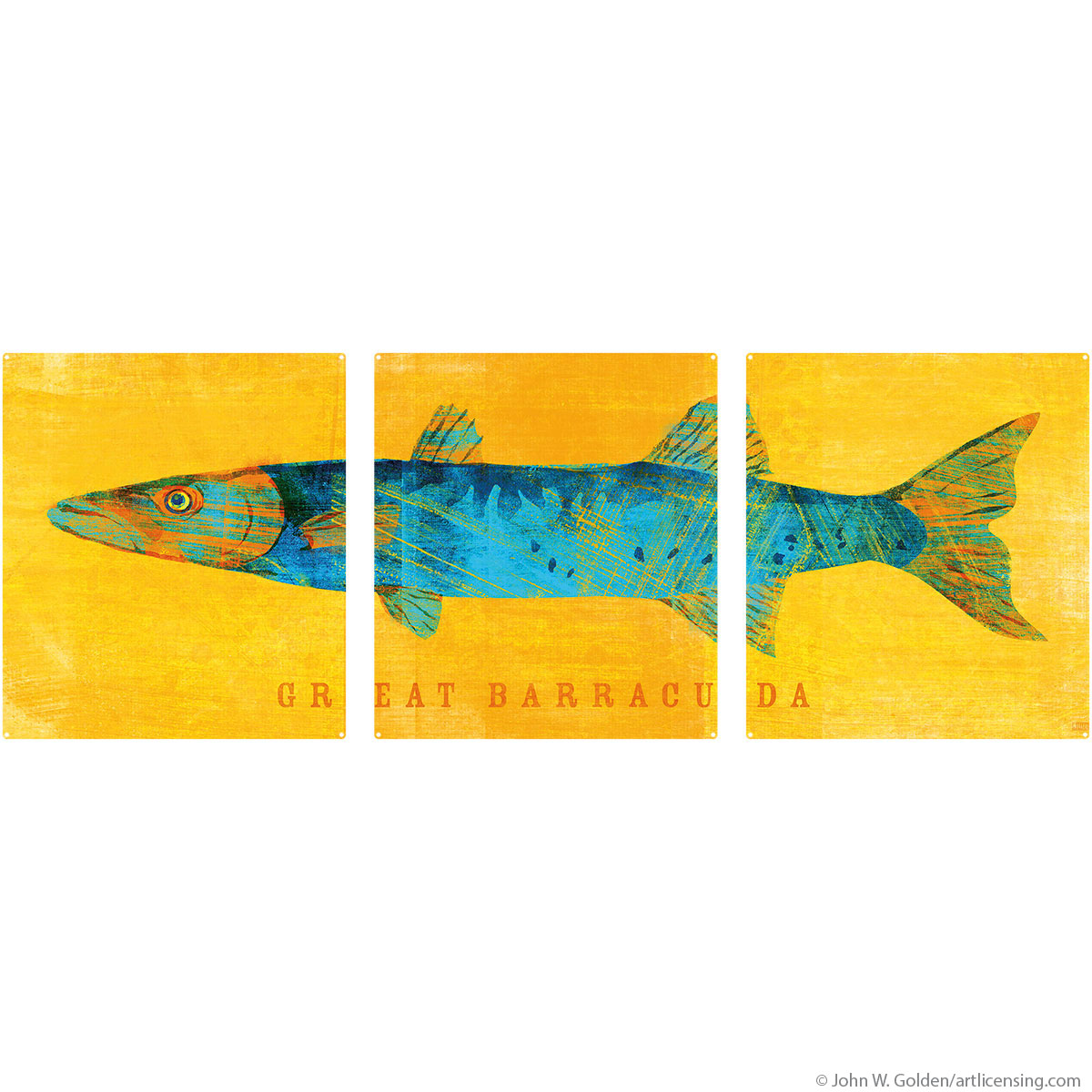 Great Barracuda Saltwater Fish Large Metal Signs | Triptych Wall Art ...