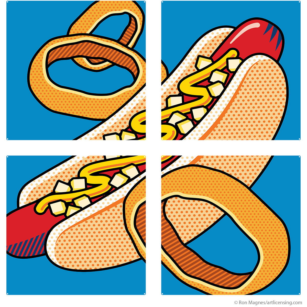 Hot Dog Onion Rings Pop Art Quadriptych Metal Wall Art 48 x 48 ...