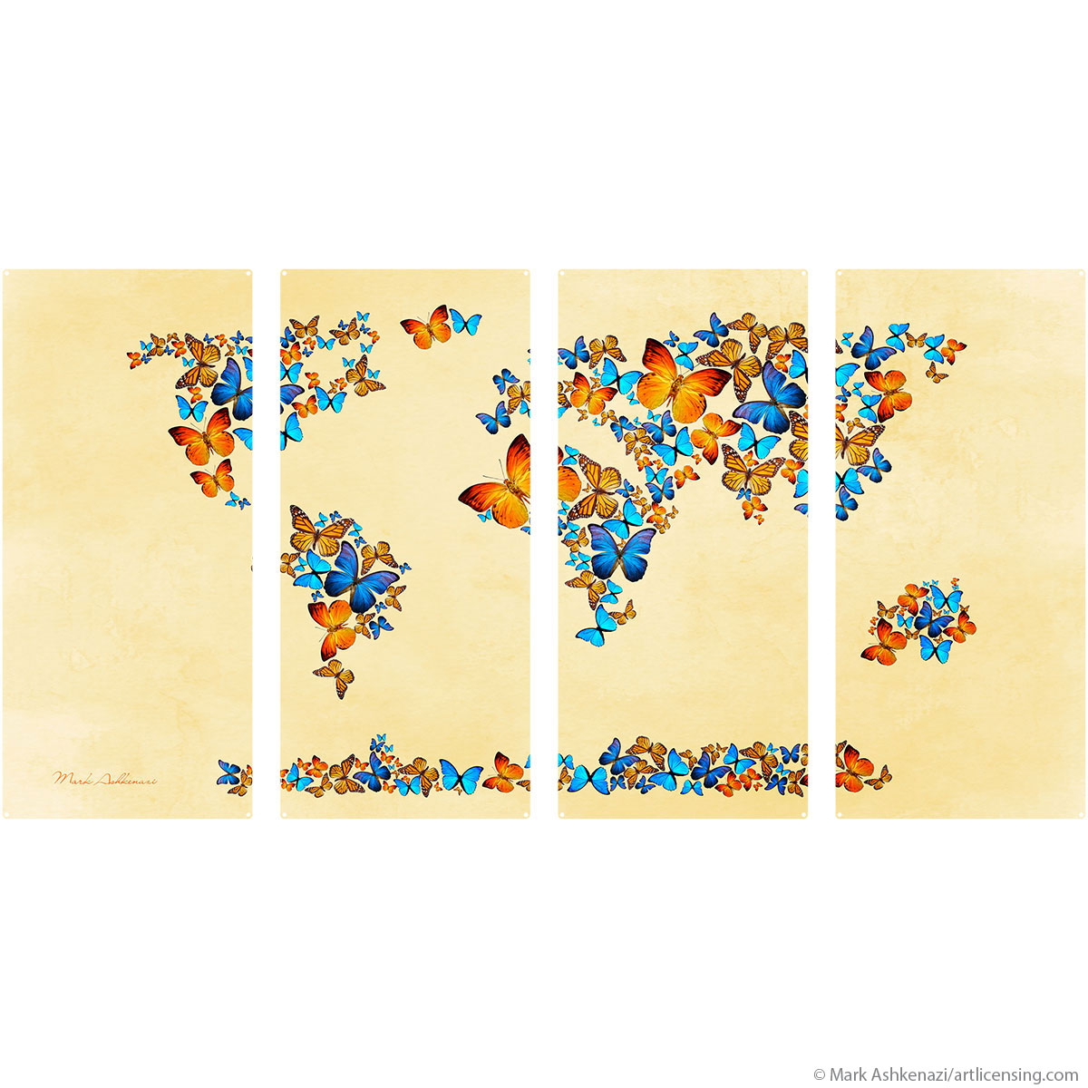 Pretty Butterfly World Map Quadriptych Metal Wall Art | Large Sign ...