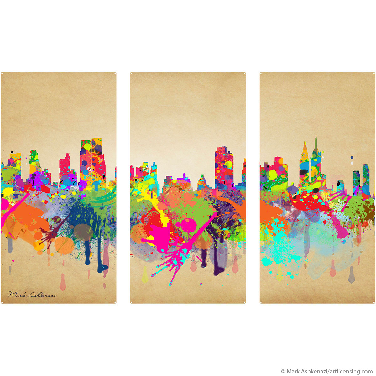 New York City Skyline Paint Splatter Large Metal Signs | Triptych ...