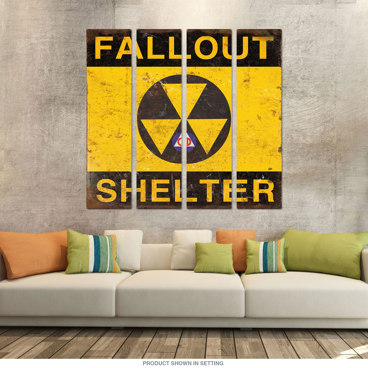 Fallout Shelter Distressed Square Quadriptych Metal Wall Art | Large ...