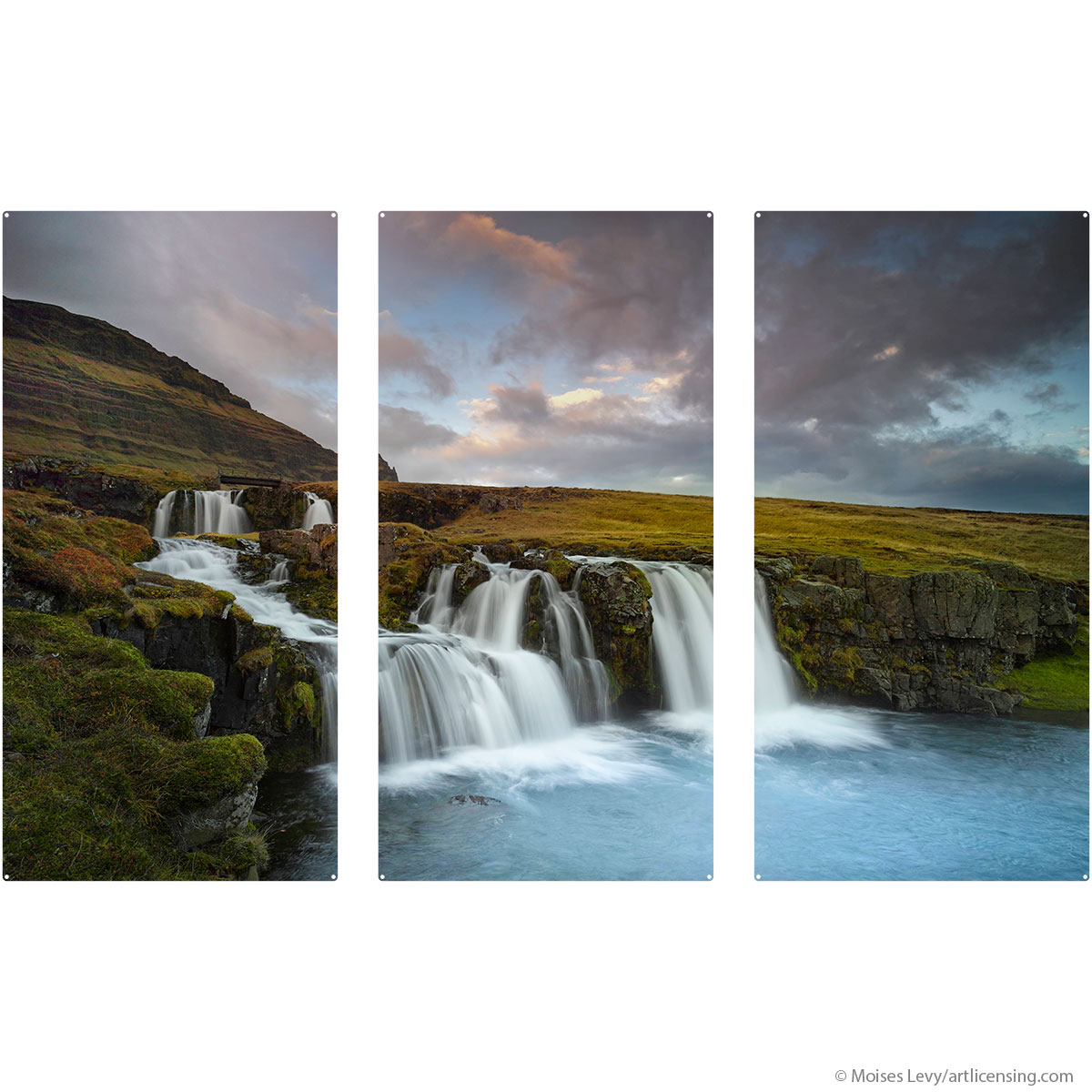 Waterfalls Snaefellsnes Iceland Large Metal Signs | Triptych Wall Art |  RetroPlanet.com