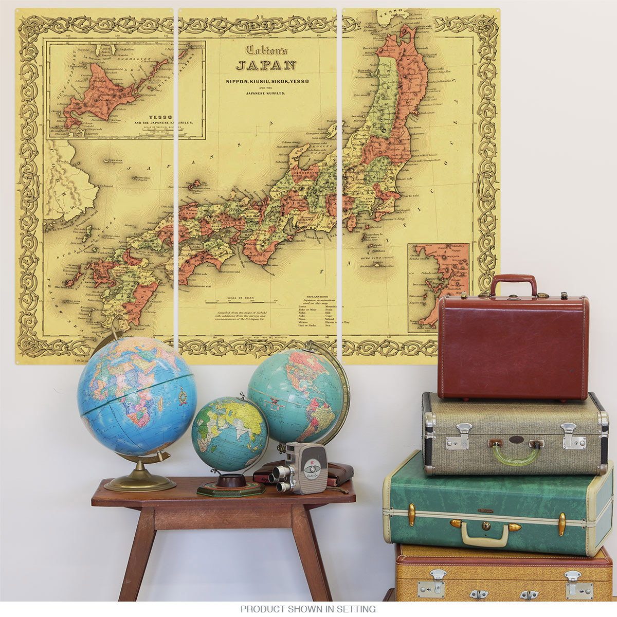 Japan Vintage Style Map Triptych Metal Wall Art   Large Sign Sets ...