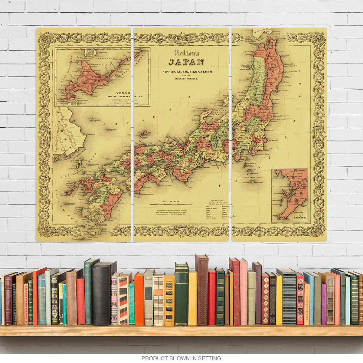 Japan Vintage Style Map Triptych Metal Wall Art at Retro Planet