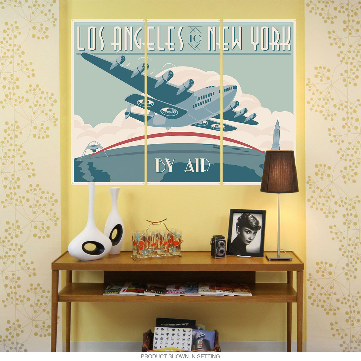 Los Angeles to New York By Air Triptych Metal Wall Art | Large Sign ...