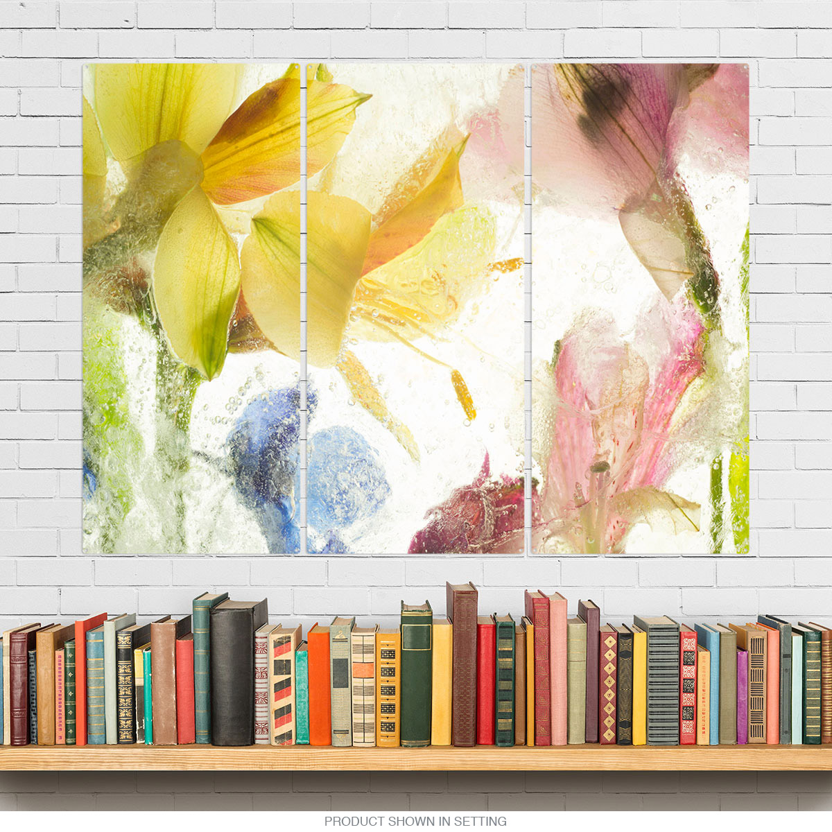 Alstroemeria Flowers Yellow and Pink Triptych Metal Wall Art | Large ...