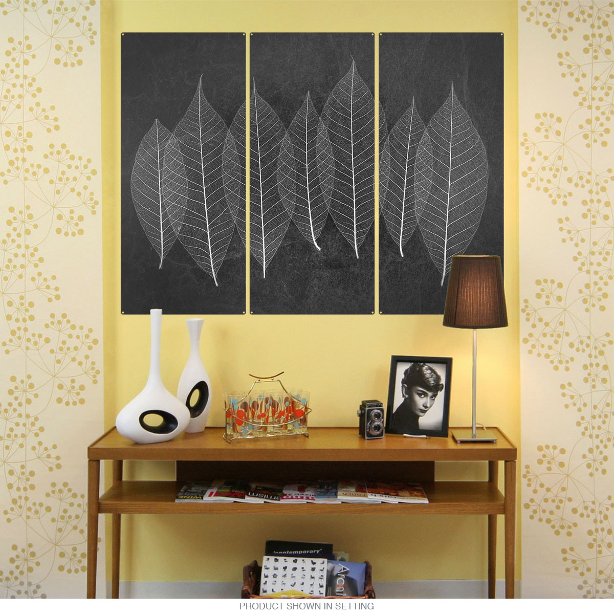 Leaves X-Ray Style Nature Triptych Metal Wall Art