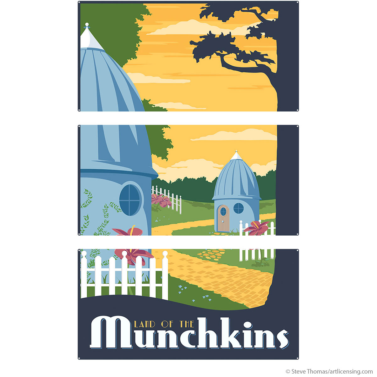 Munchkin Land Wizard of Oz Large Metal Signs | Triptych Wall Art ...