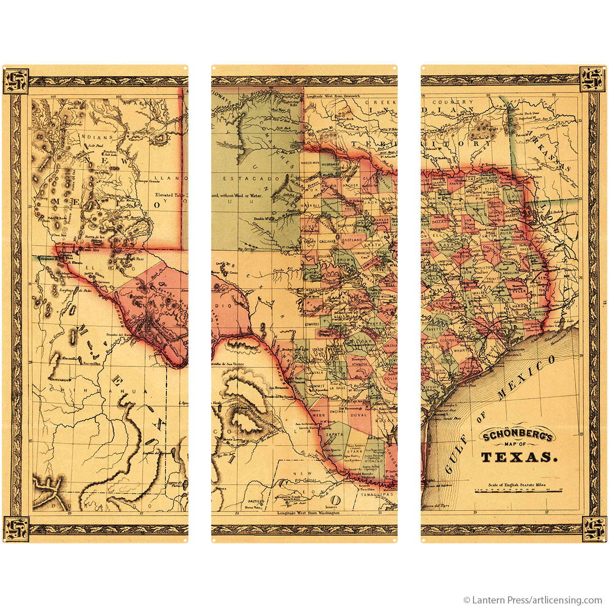 Texas State Map Large Metal Signs Vintage Style | Triptych Wall Art ...