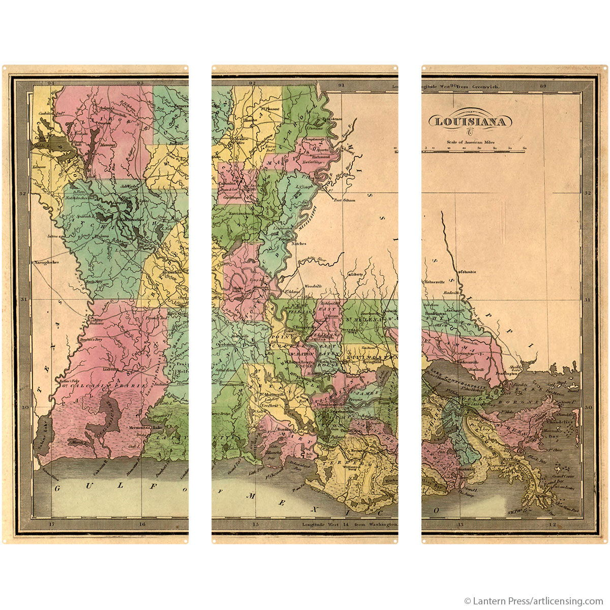 Louisiana State Map Triptych Metal Wall Art Vintage Style | Large ...