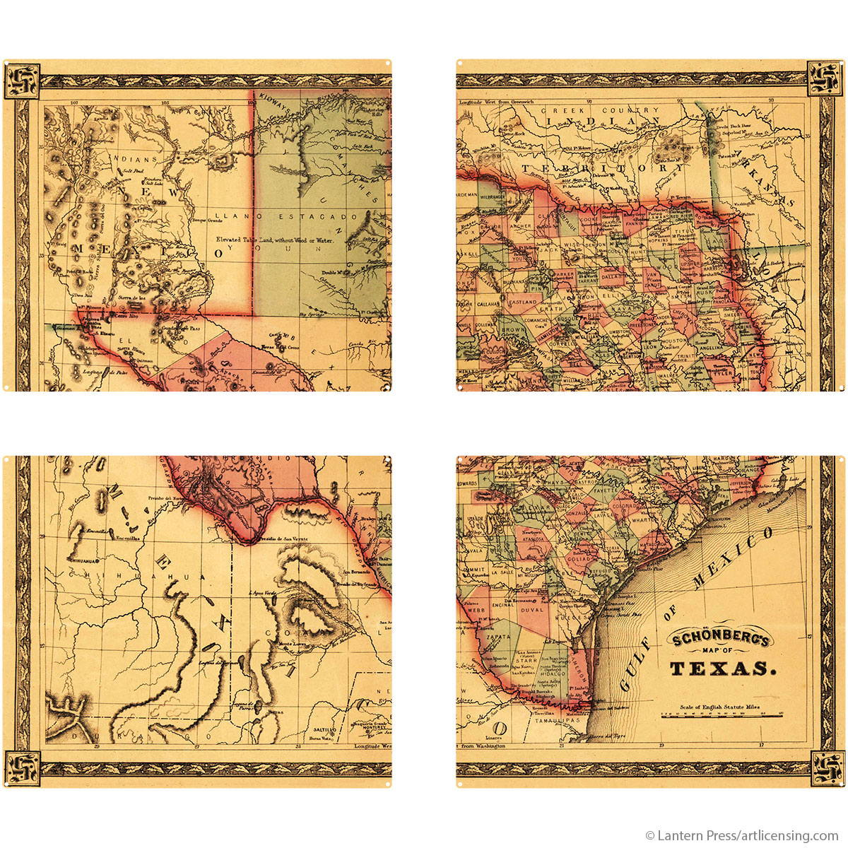 Texas State Map Quadriptych Metal Wall Art Vintage Style| Large Sign ...